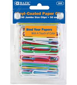 BAZIC Jumbo (50mm) Color Paper Clips (100/Pack), Case of 24