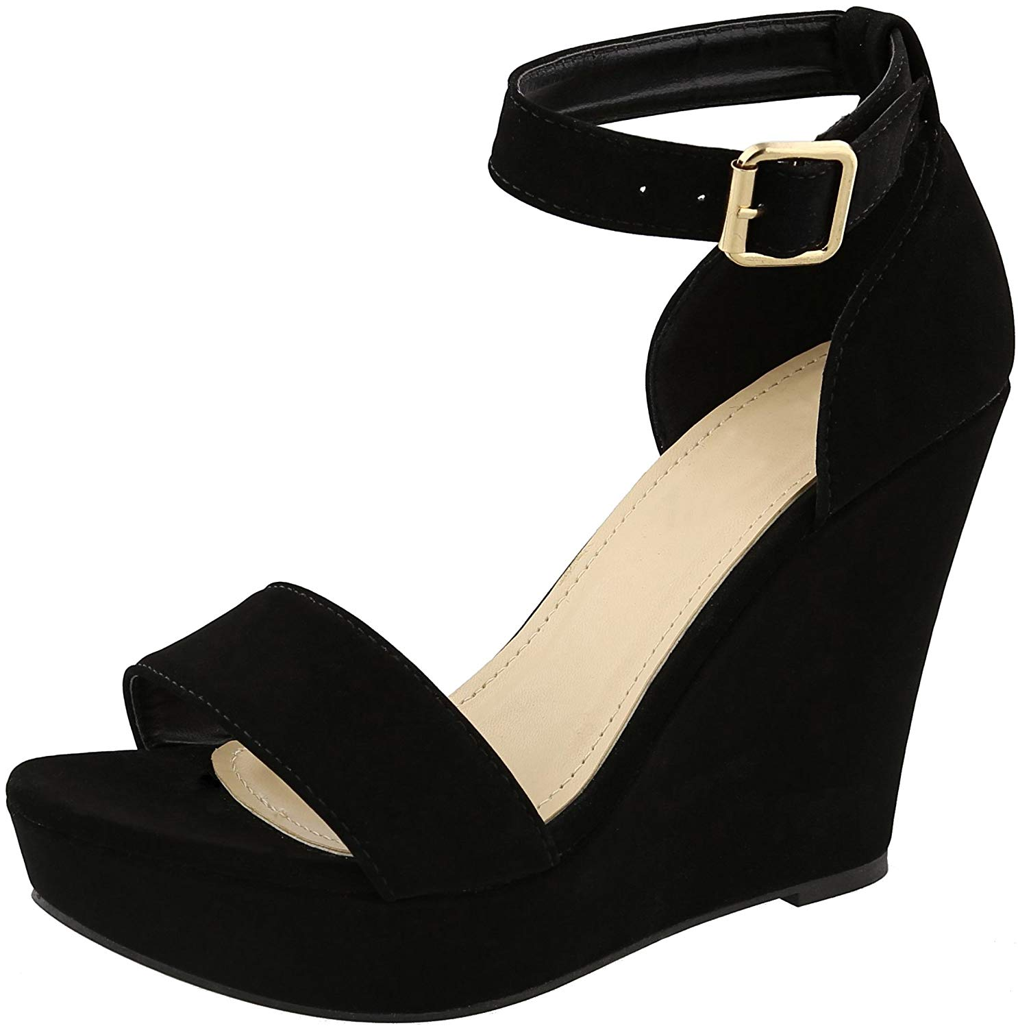 5587cc2254b Get Quotations · Cambridge Select Women s Single Band Buckled Ankle Strap  Open Toe Platform Wedge Sandal