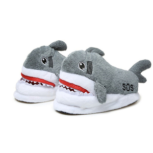 Average Size Fits 35-42 Warm Short Plush Animal Shark Women Home Indoor Slippers