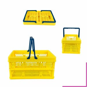 Small Foldable Solid Plastic Mesh Basket For Storage Handle