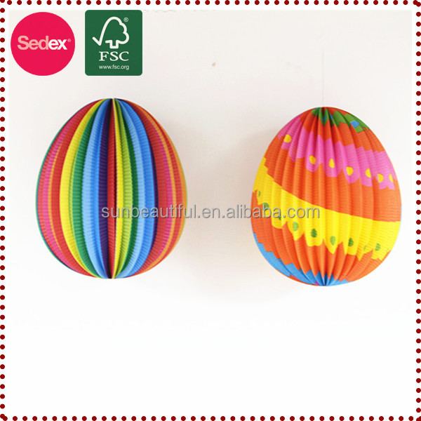 Colorful Easter party decorated Egg hanging Paper Lantern for Easter Decoration