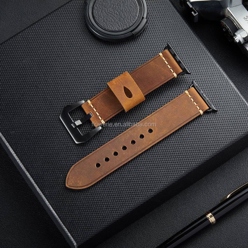 Economic factory price for iphone watch bands for apple iwatch band 38mm 42mm leather watch strap, Black orange;black brown;brown;gray;green;blue