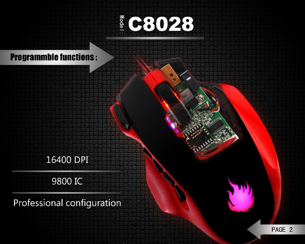 High-precision Adjustable DPI to 16400 dpi wired 19keys gaming mouse C8028