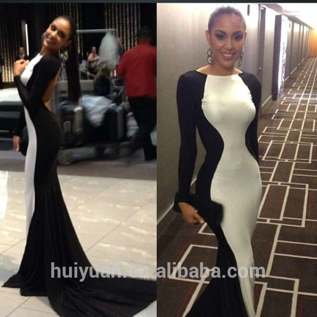 c2b7de2a32 negro blanco combinar vestido sin espalda bodycon cuello alto manga larga