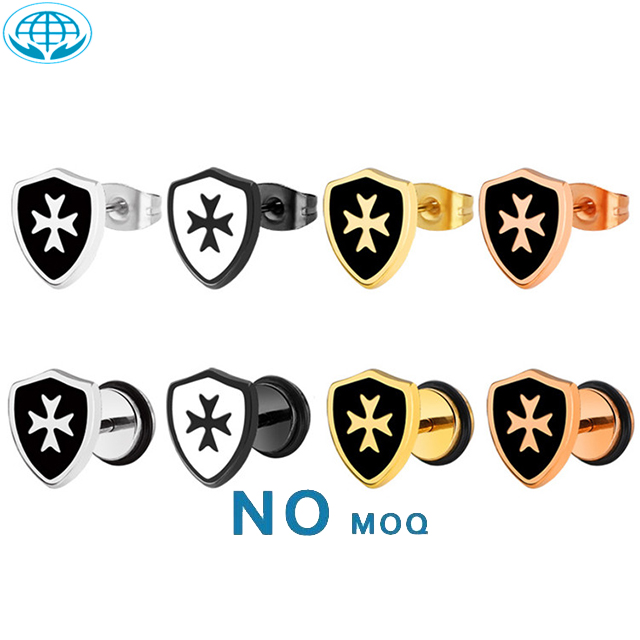 Hoyoo Korea personality punk style shield shaped Cross dripping oil stainless steel stud earrings