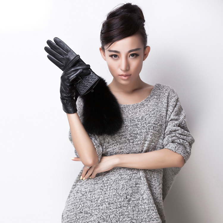 Swallow Gird Stitching Cuff Fashion Women Winter Leather Gloves