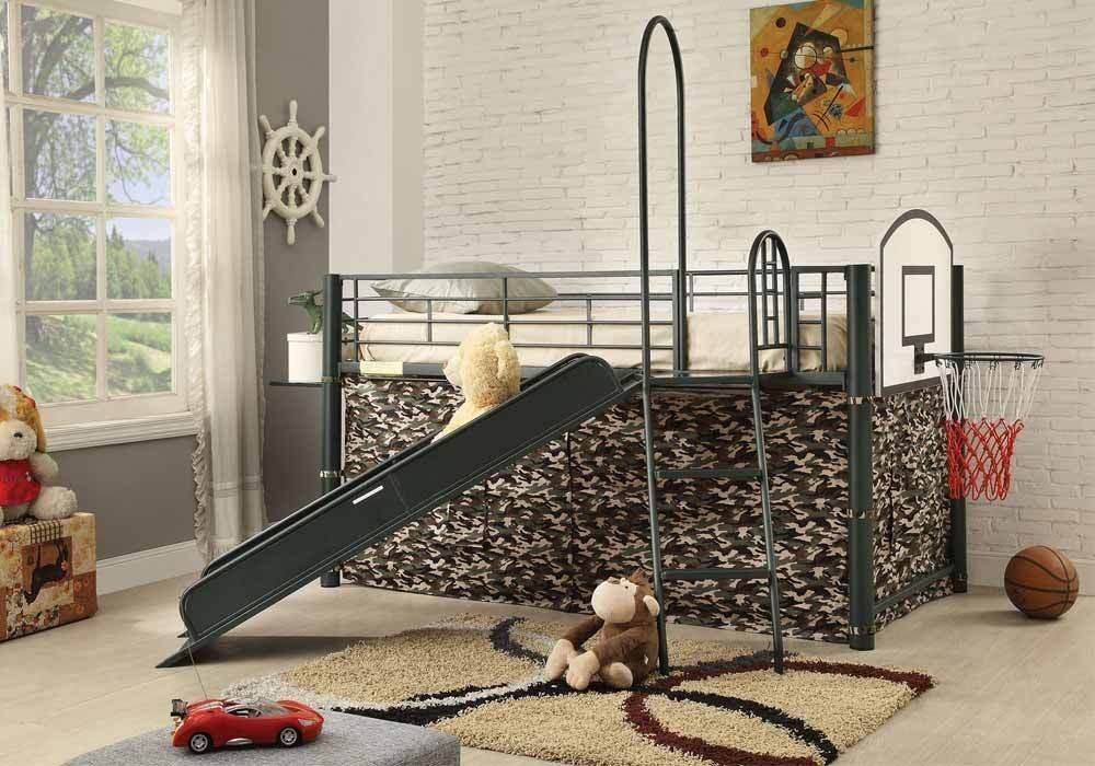 Charmant Get Quotations · 1PerfectChoice Wayde Fun Youth Kids Bedroom Loft Bed Tent  Slide Ladder Metal Frame Basketball