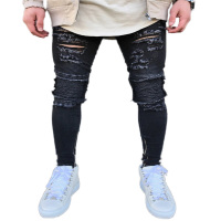 2019 High quality fashion custom cotton denim black distressed jean men