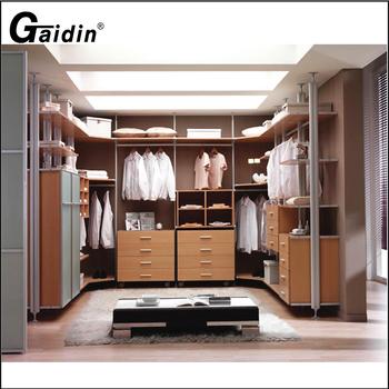 Custom Aluminum Wall Mounted L Shape Bedroom Walk In Clothes Wardrobe