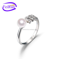 FEIRUN hot sale new type natural ring with pearl, pearl ring resizable, pearl ring jewelry
