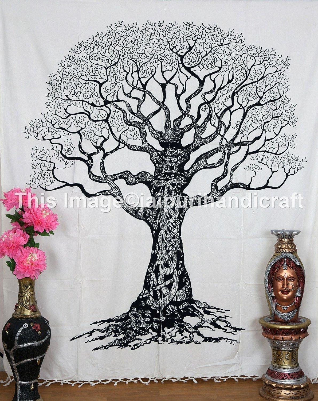 White Black Tree Tapestry Of Life