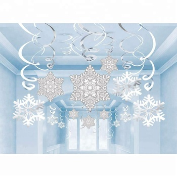 Popular Winter Wonderland Flags Holiday Christmas Party Supplies Set Wonderful Christmas Snowflake Hanging Swirl Decoration