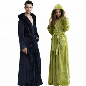 Winter Robes thick Hooded Extra Long Bathrobe