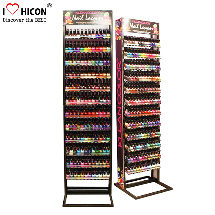 Free Standing Metal Beauty Care Retail Shop Rack Salon Product Floor Nail Polish Display Shelves