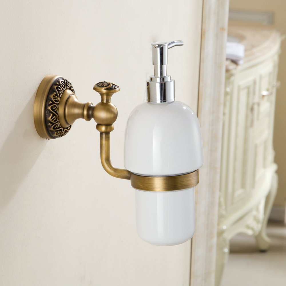 Hiendure® Antique Bronze Finish Brass Material Wall Mounted Bathroom Lavatory Ceramic Soap Lotion Pump Dispenser