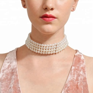 Fashion Multilayer White Imitation Pearl Choker with Metal Slice Fixation Wide Bib Necklace Jewelry for Charm Women