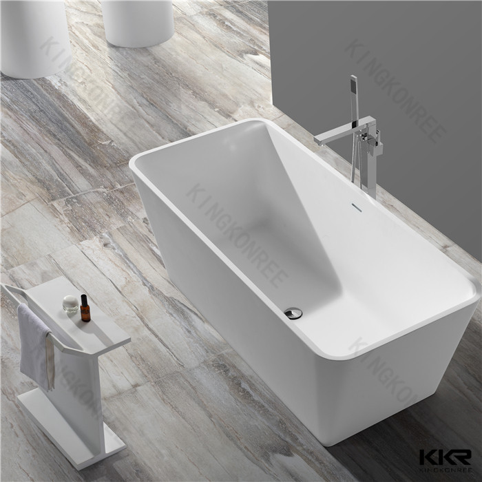 White Finish Big size Freestanding Bath / One Piece Bathroom Bathtubs