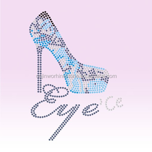 FREE Sample and Custom detailed high heel patterns t-shirt hot fix rhinestone transfer