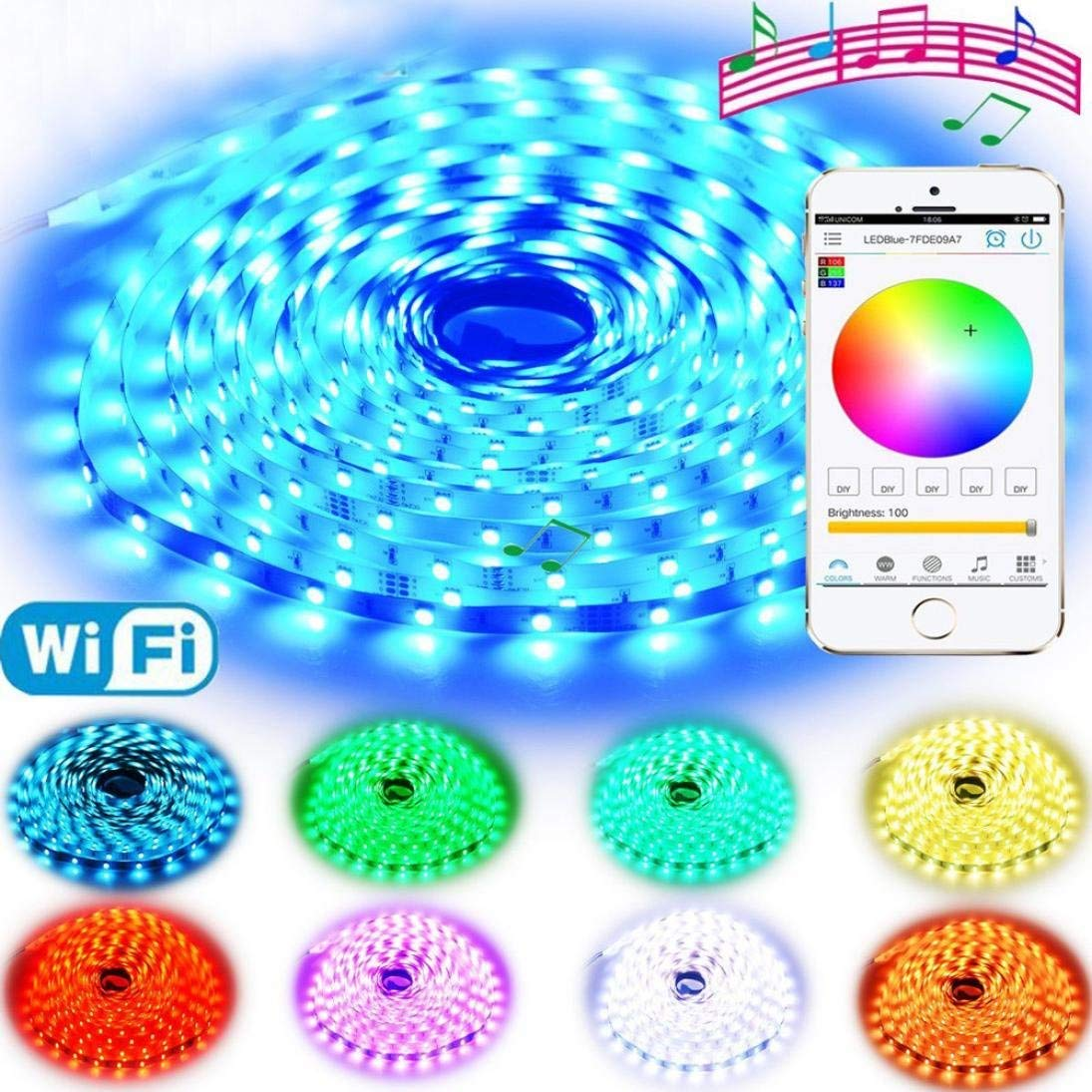 Rumas LED Strip Lights 16.4Ft Indoor Only, Wireless Wifi Control, 12V 150LEDs RGB 5050, Multifuncition Lamp String Decoration (White)