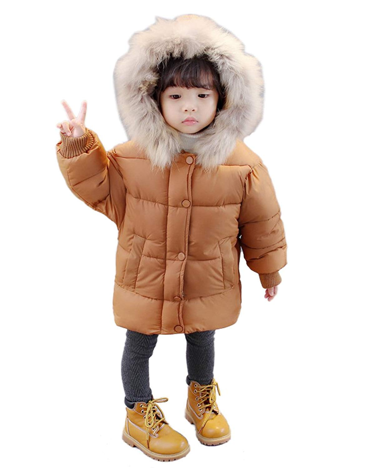 Mud Kingdom Little Girls Winter Quilted Long Puffer Jacket Coat with Star Hood