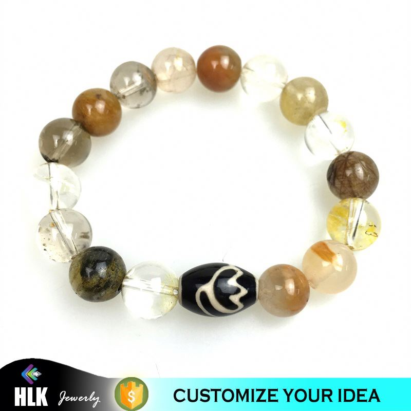Semi White Rutilated Crystal Quartz Lotus DZI Natural Stone Beads Bracelet