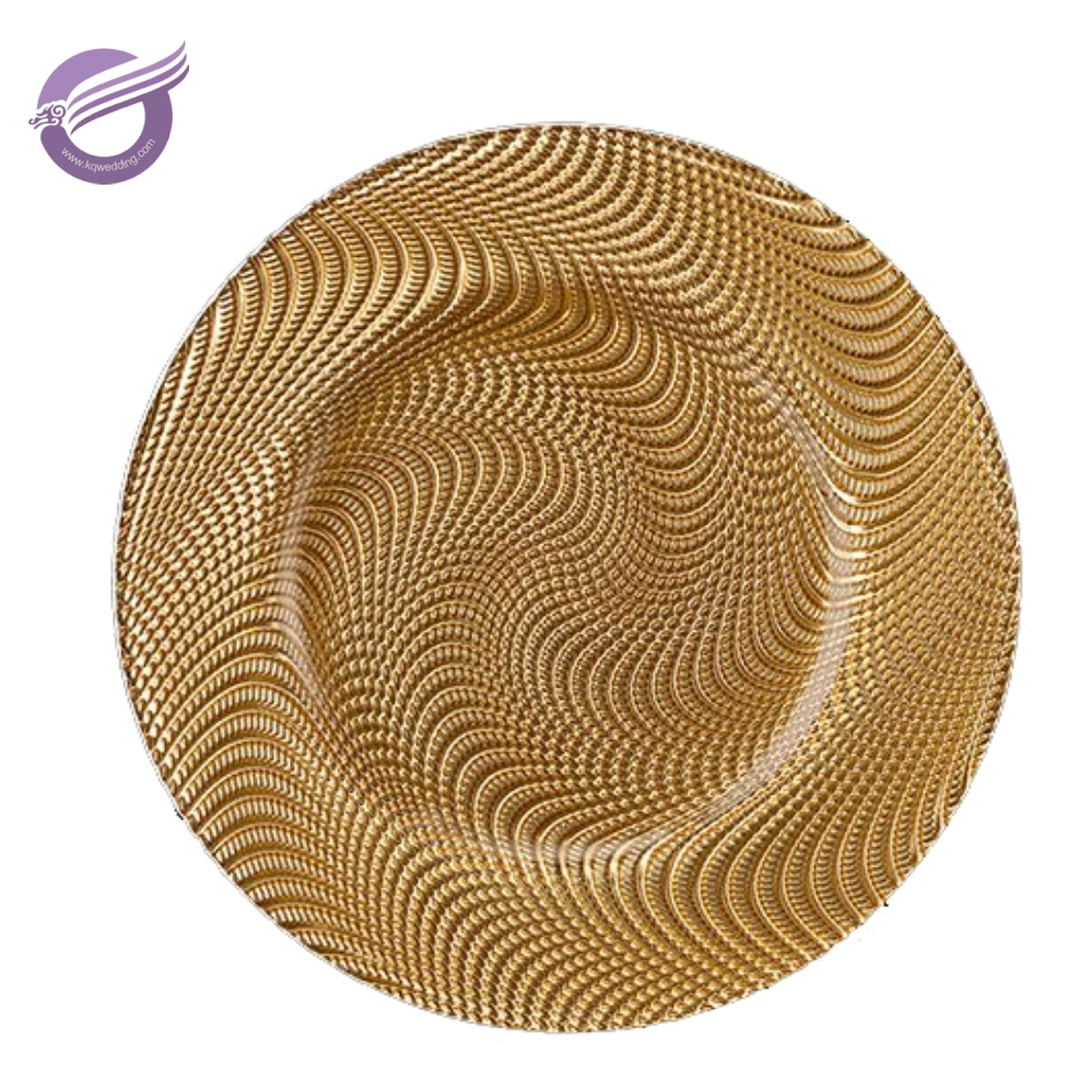 PZ00550 china wholesale wedding decoration gold base round charger glass plates