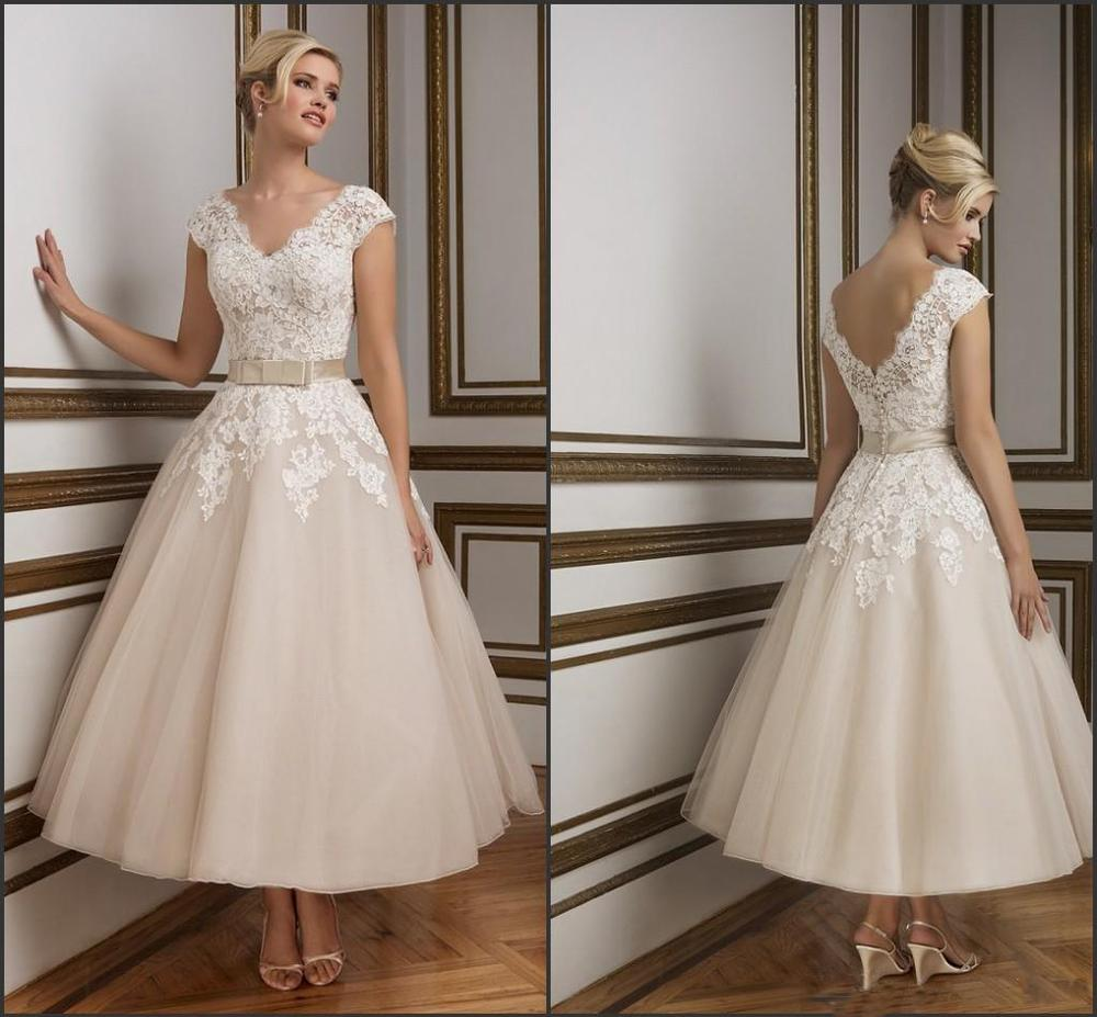 Champagne Vintage Wedding Dresses: 2016 Champagne Ankle Length Wedding Dresses Elegant V Neck