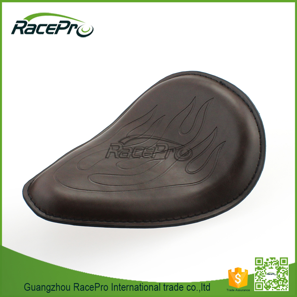 Flame Synthetic Leather Solo Seat Motorcycle for Harley Chopper Bobber Sportster Custom
