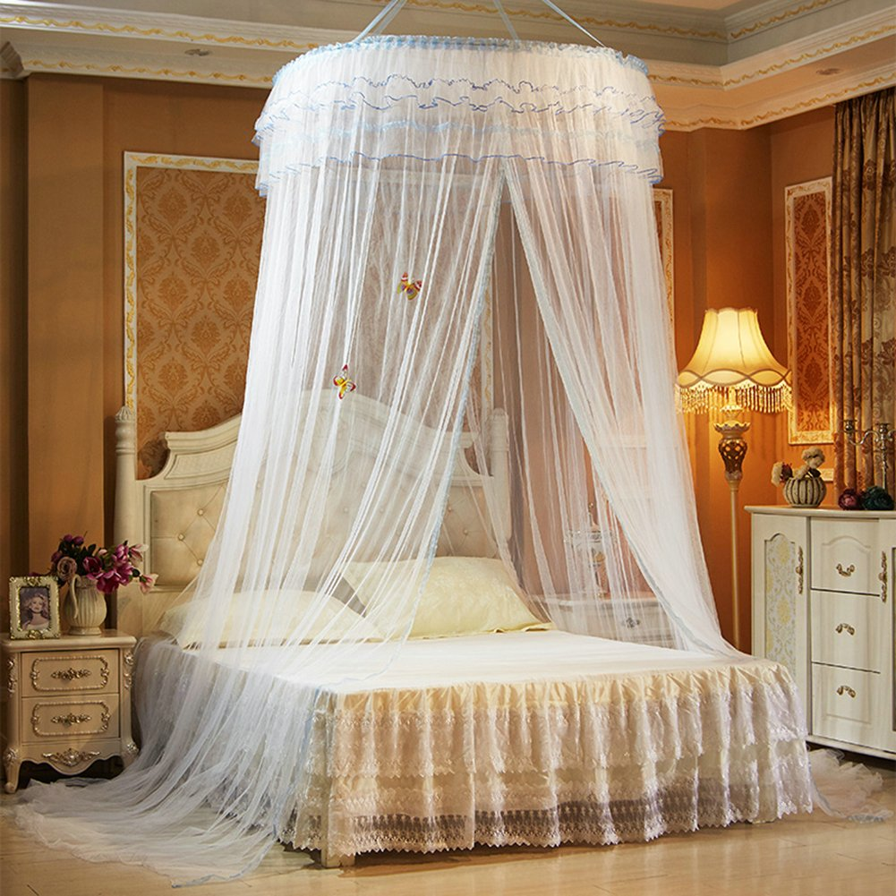 TYMX Mosquito Net Canopy Insect Netting Princess Butterfly Dome Bed Lace Tents Diameter 1.2M Adult Baby Kids Bedroom Games Anti-Mosquito And Insect-Proof Mosquito Nets Fit Crib Twin Full Large (White)
