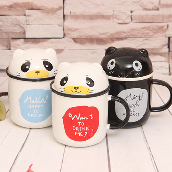 Wholesale ceramic mug creative panda shaped coffee mug cup with cute lid