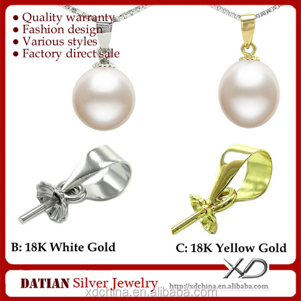 XD K009 glue on 18k gold pendant bails for single pearl pendant settings