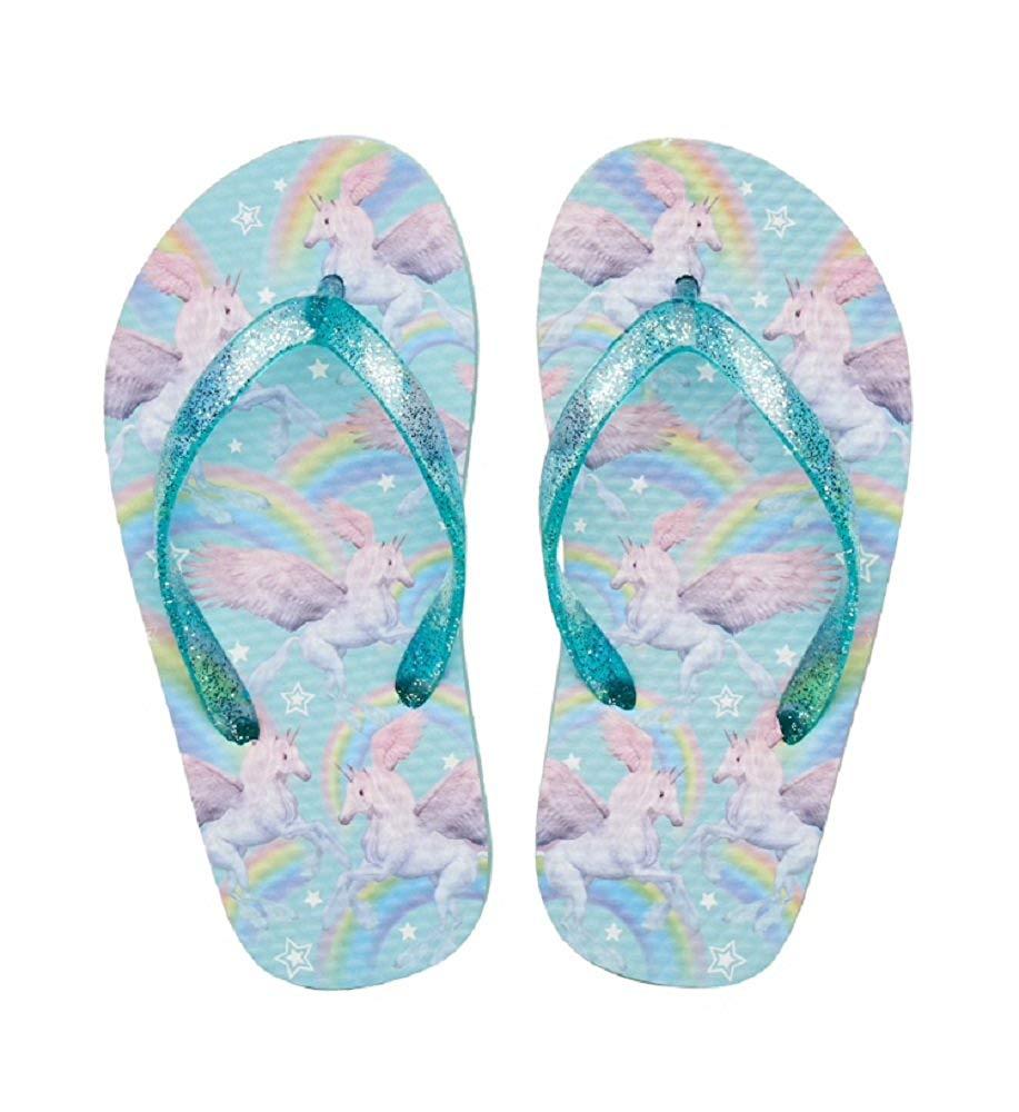 f00f334a5127 Get Quotations · Elli by Capelli Unicorn Rainbow Glitter Flip Flops - Girls  4-16