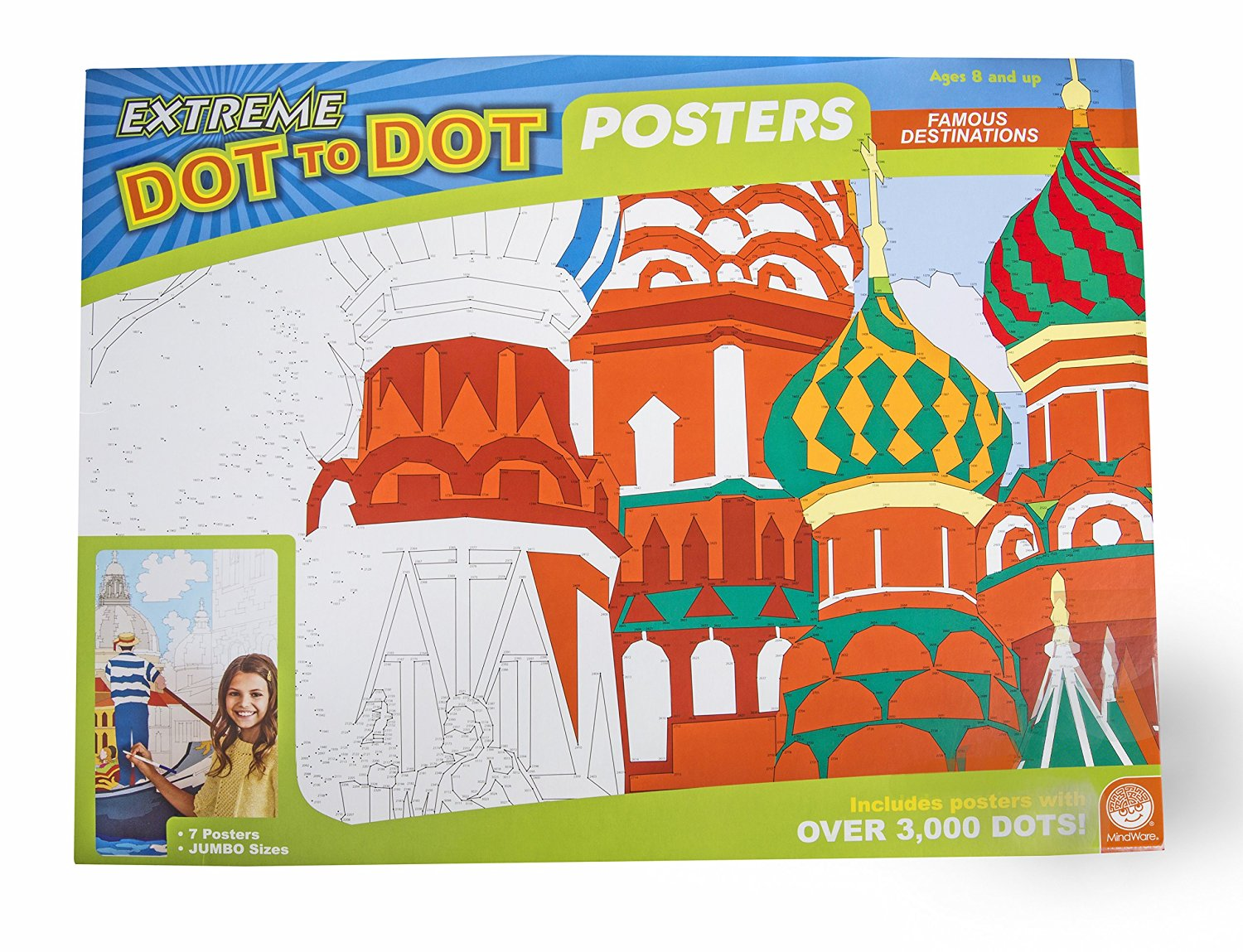 MindWare – Extreme Dot to Dot Famous Destination 7-Piece Poster Set – 5 Giant Posters and 2 Colossal Posters with Over 3,000 Dots – Destinations Include Venice, Moscow, Africa, London, China, New York, and Central America