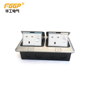 OEM ODM Factory Supplied Fast Openning Double Pop-up Electric Floor Box With 13A UK Socket and RJ45, SASO Certificated