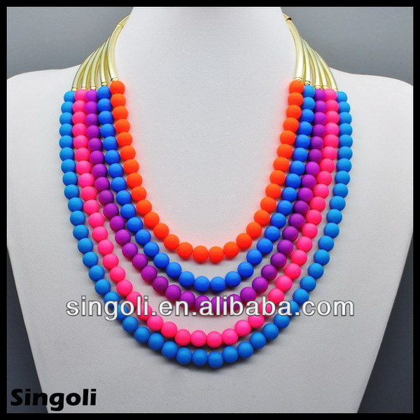 2014 Spring hotsale fashion Multiple layers colorful resin arcylic necklace beaded long necklace jewelry sets made in china