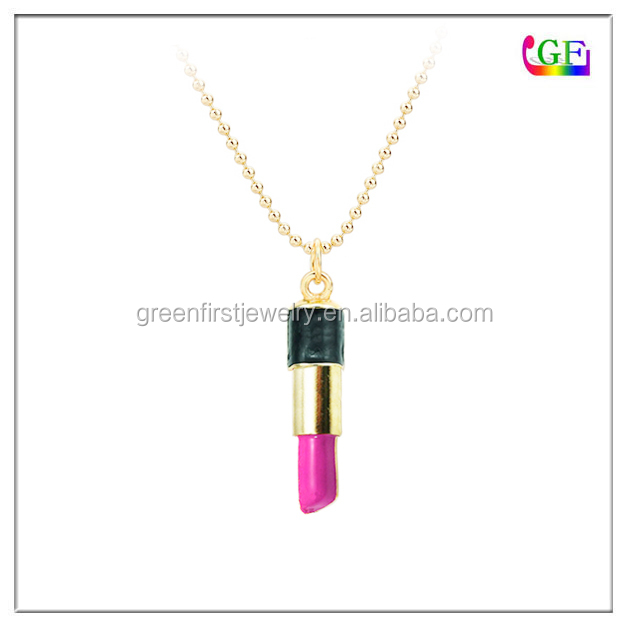Gold pink Lipstick cosmetic pendant necklace
