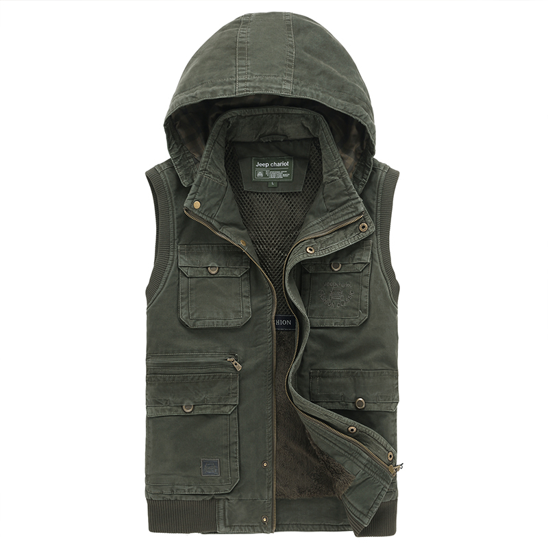 Mens velvet Casual Waistcoat outdoor camping hunting photography men vest with many multi pockets sleeveless hoodie vest gilet
