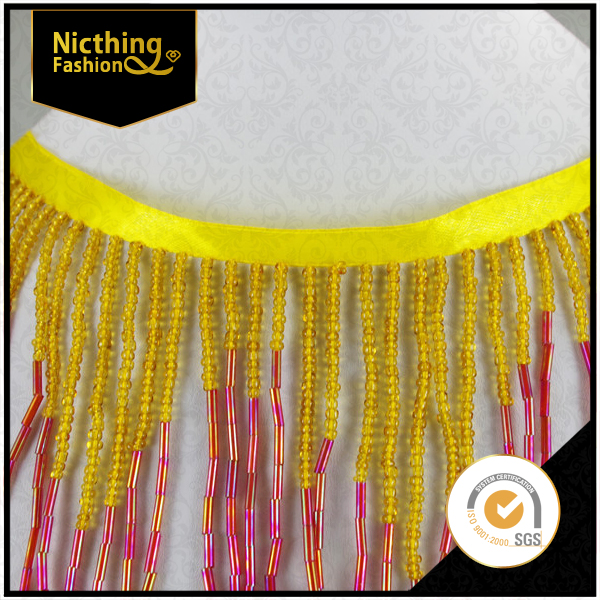 Multi Color Native American Style Seed Gorgeous Beaded Fringes Trim Gold withe pink Seed Bugles-Acrylic fringe trimming NTF043