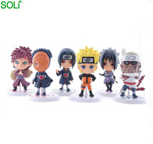 Japanse cartoon Q versie hot anime figuur <span class=keywords><strong>naruto</strong></span> <span class=keywords><strong>set</strong></span> van 6