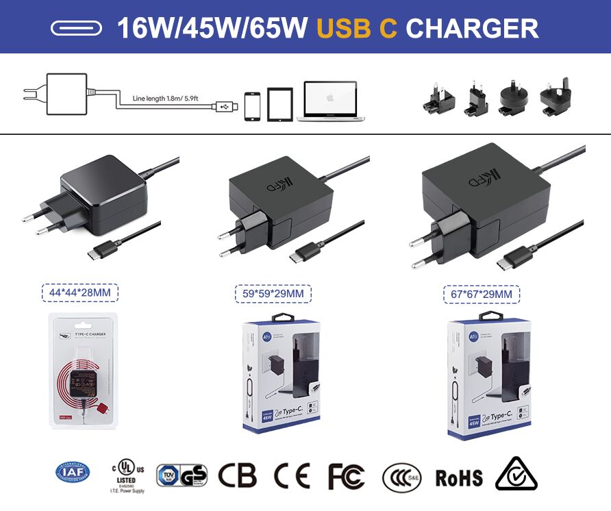 2017 hot new products!!! 45W 65W USB-C Laptop AC Wall Charger 5V 9V 12V 15V 20V
