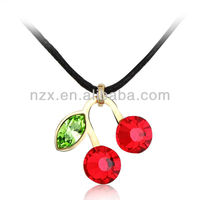 OUXI Korean style fashion multicolored crystal cherry charm pendant necklace 10373