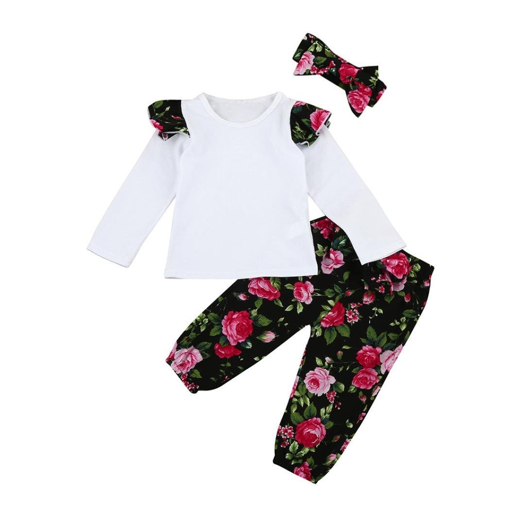 9e3346f93922 Get Quotations · 3pcs Infant Baby Girls Floral Clothes Set Tops+Floral  Pants+Bow Headband Outfits (