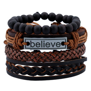 Wholesale punk design lava stone believe letter charm handmade multilayers rope cowhide leather bracelet for men women jewelry