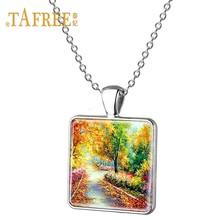 TAFREE красивый пейзаж деревня иллюстрация кулон ожерелье белый Снежный замок Горный Дом планета ребенок подарок ювелирные изделия E144(Китай)