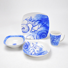 Porcelain 16pcs square shape dinner set with decal printing