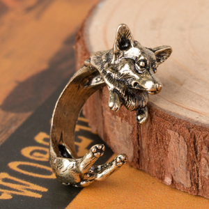 Wholesale Cheap Alloy Unisex Wrap French Animal Shaped Ring Dog Open Ring