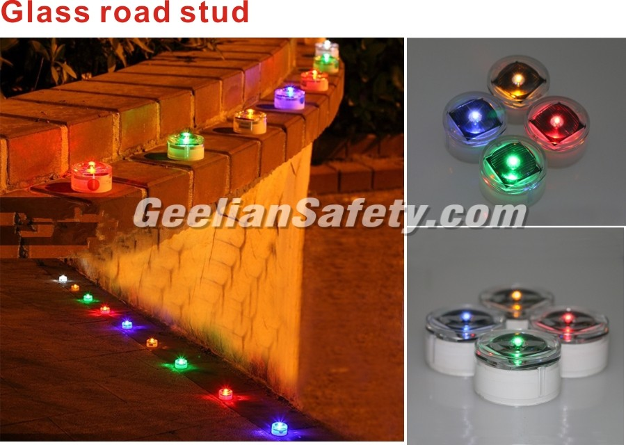 hot Red, Yellow, Green, Blue, White aluminium / Tempering glass solar road stud road spike geelian