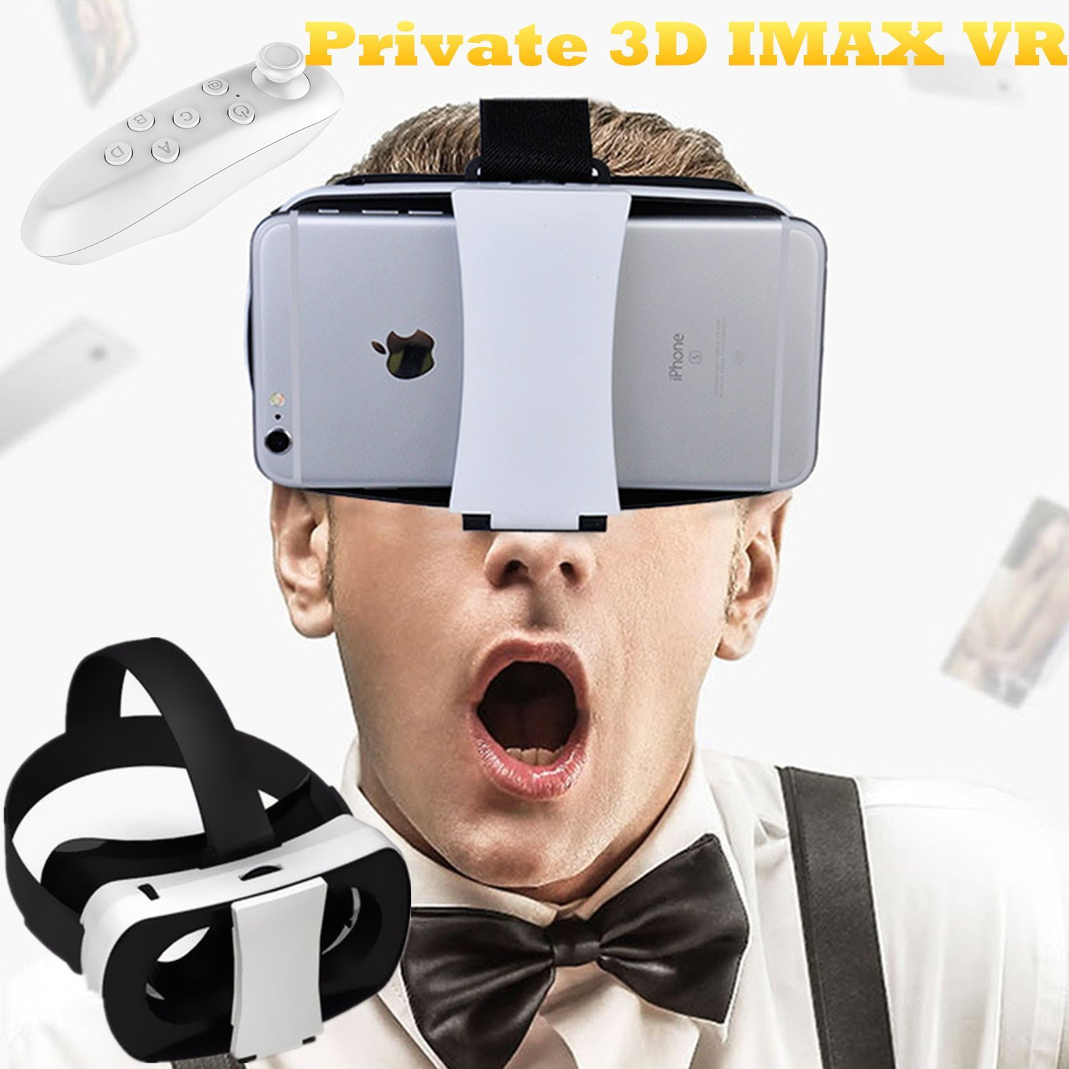 "3D Virtual Reality Headset, Tsanglight VR Glasses/Headset 4.5""-5.5"" Cellphone 3D Movie/Game Viewer with Remote for IOS/Android, for iPhone 7/6S/6S Plus Samsung Galaxy S7/6 Edge/5 Sony LG Huawei etc"