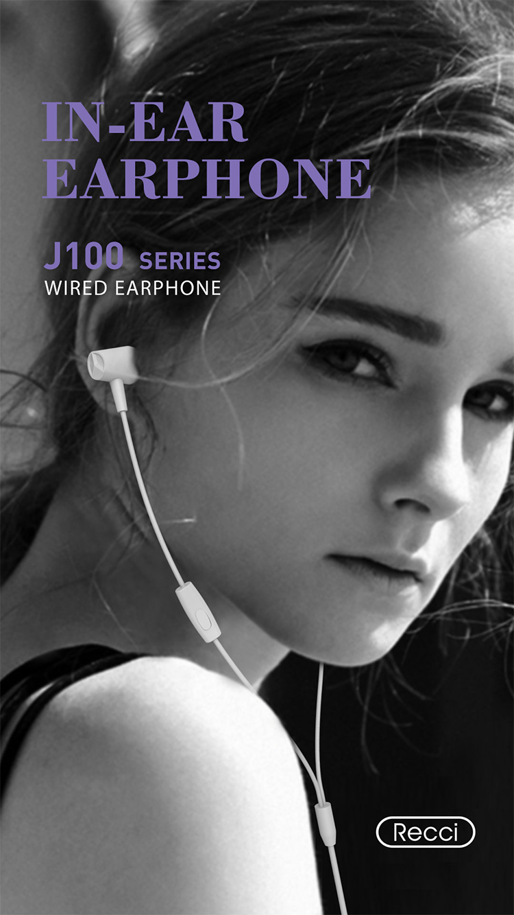 Recci New Wired Earphone J100 High-definition sound quality  with Multi-compatible function
