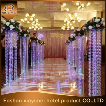 Wedding Flower And Pillars With Led Light Decoration Walk Lead Road
